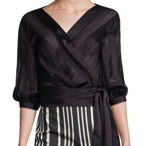 Alice + Olivia Dyanna Sheer Blouse Wrap Silk Large